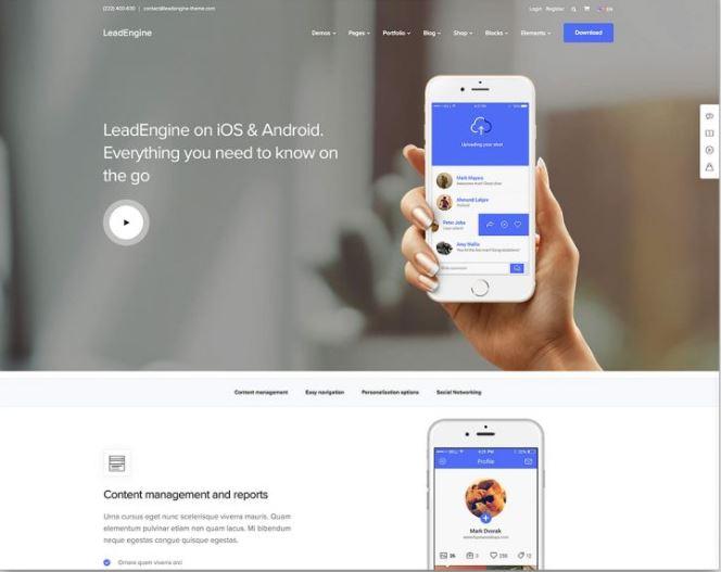 Theme WordPress giới thiệu app tốt nhất Lead Engine.