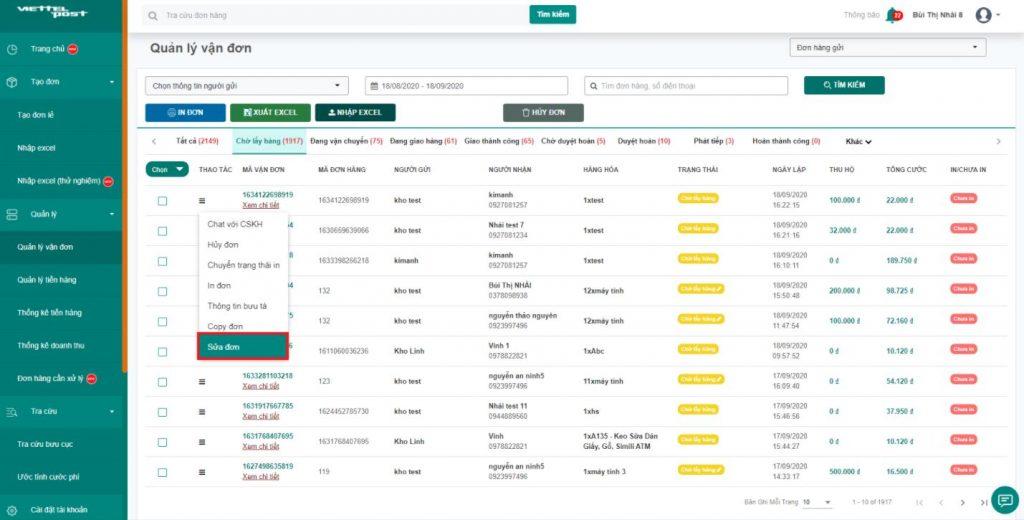 Phần mềm giao hàng Viettel Post